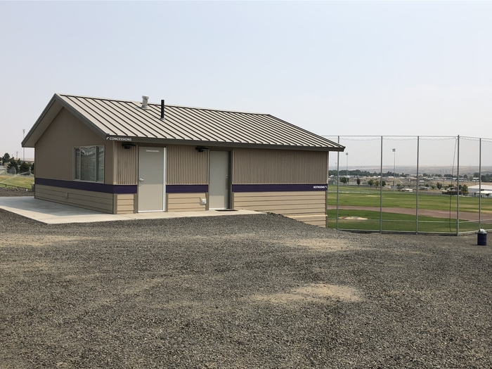 Concession stand, team rooms and restrooms at Noble Fields