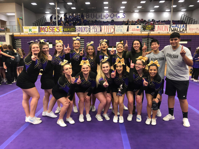 Cheer got first place in their division for Stomp today at Pasco Cheer Invitational and qualified for State Cheer!