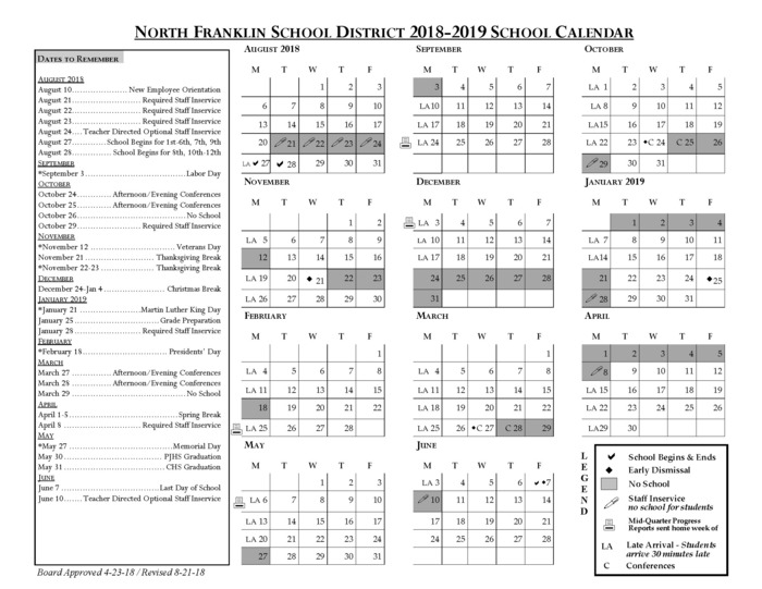 18-19 District Calendar